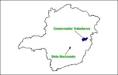 MAPA DE MINAS E LOCALIZAÇÃO DO MUNICÍPIO DE GV
